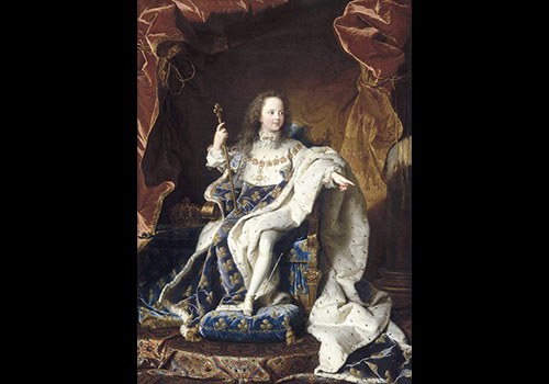 Portrait de Louis XV (1710-1774), âgé de 5 ans, assis sur son trône en grand costume royal