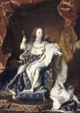 Portrait de Louis XV, âgé de 5 ans (1710-1774), assis sur son trône en grand costume royal